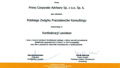 PRIMO w Polskim Związku Pracodawców Konsultingu Konfederacji Lewiatan
